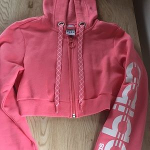 Pink and white Adidas cropped sweatshirt